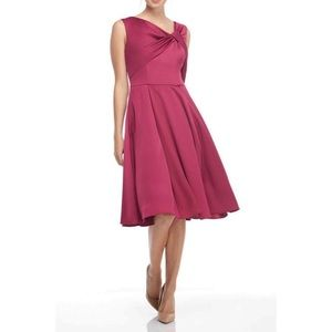 Gal Meets Glam Berry Twist Neck Fit Flare Dress